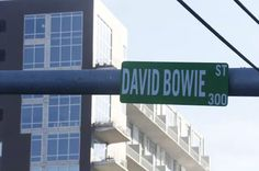 """The David Bowie memorial content fever that's swept up the Internet in the last week has penetrated the real world. Some enterprising Bowie fans in Austin, Texas have replaced a sign for """"Bowie St."""" with a sign for """"David Bowie St. James Bowie, Austin Music, David Bowie Tribute, The Thin White Duke, Star David, British Rock, Urban Architecture, Street Culture, Sound & Vision"""