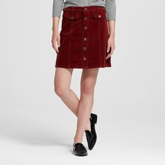 Women's Button Front A-Line Skirt Burgundy 18 - Mossimo Supply Co. (Juniors'), Red
