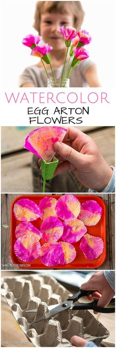 DIY Watercolor Egg Carton Flowers. Flower crafts for kids #kidsart #kidscraft #paperflowers