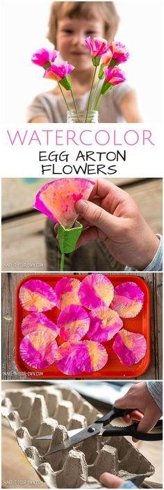 DIY Watercolor Egg Carton Flowers. Flower crafts for kids #kidsart #kidscraft #paperflowers