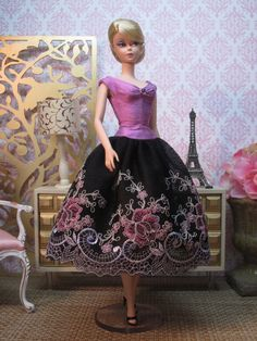 Silkstone BArbie,Lace Party Dress in Black Orchid by Bellissimacouture on Etsy