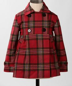 Red Plaid Wonderland Coat - Girls by Down East Basics on #zulily