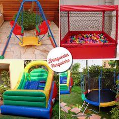 brinquedos para alugar em festas e eventos da guaciara com balanço, piscina de bolinhas, cama elástica e tobogã inflável.