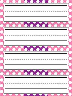 FREE Polka Dot Name Plates- pink/purple and blue/green :) From Kindergarten Celebration!!