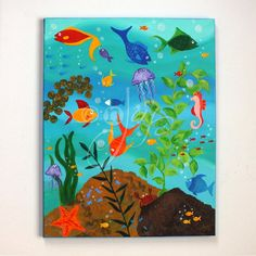 HAPPY FISH, Tropical Fish Painting, 16x20 Whimsical Fish Art, Bed and bath decor.