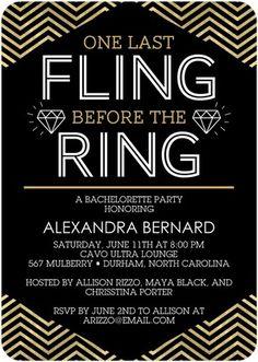 Fabulous Fling - Signature White Bachelorette Party Invitations - Sarah Hawkins Designs - Gilded - Brown   www.WeddingPaperDivas.com