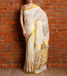 Off White Kasavu Saree with Zari Work