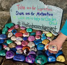 Our goal is simple…to promote random acts of kindness to unsuspecting recipients…whether by painting and dropping inspirational rocks or some other cool creative way to bring kindness i… Pebble Painting, Pebble Art, Stone Painting, Rock Painting Designs, Paint Designs, Kindness Projects, Kindness Activities, Elderly Activities, Inspirational Rocks