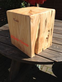 Soft Wood cube, excellent side table, stool, sold at Stock Gaylard Oak Fair August 2013. Www.planks2tops.vpweb.co.uk