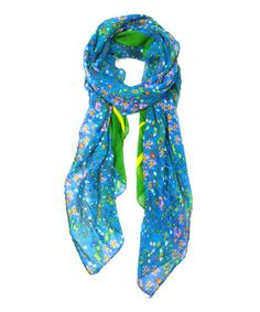 Green Floral & Animal Scarf by East Cloud #zulilyfinds
