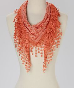 Look what I found on #zulily! Orange Floral Fringe Scarf by J & X International #zulilyfinds