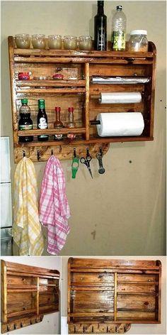 Repisa para condimentos y especias madera wood for Repisas rusticas para cocina