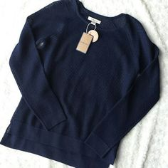 Navy blue sweater Lightweight.  Brand new with $88 tags. Viscose/polyester.  Hangs a bit lower in the back. G.H. Bass & Co. Sweaters