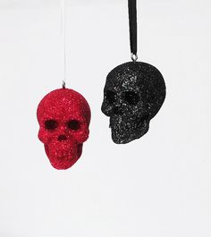 Set 2 Skull Glitter ornaments