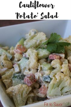 Oh my God, this Cauliflower Potato Salad is one of the most amazing things I've ever made! There's no potatoes in it, but you'd never miss them! And the smoked paprika in the dressing just takes it to a whole other level. Definitely making this health, clean and 21 Day Fix friendly side dish for every BBQ, cookout and picnic that I go to this summer!