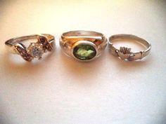 Lot of three rings sterling silver sz7-7.5 green stone *pretty vintage rings* #Cocktail