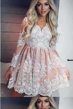 On Sale Substantial Homecoming Dresses Short See Through Long Sleeve Lace Homecoming Dresses Vintage Short Prom Dress Long Sleeve Homecoming Dresses, Hoco Dresses, Dresses Short, Dresses For Teens, Cute Dresses, Party Dresses, Dresses With Sleeves, Prom Dress, Dress Lace