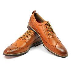 83d318a58683 New Men s Dress Shoes Brown cognac Wing Tip Block Hill Lace OXFORDS Parrazo  W