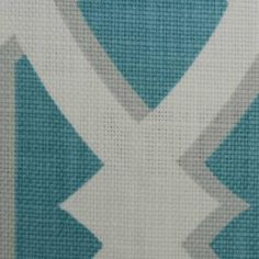 Aqua and Grey Large Scale Frette Print Fabric from DuraleeFinds