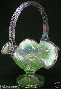 *FENTON ART GLASS ~ Mint Green and Lavender Basket