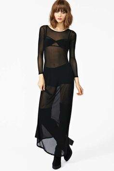 Exposed Mesh Maxi Dress