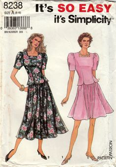 Simplicity 8238 Sewing Pattern Two Piece Dress with Gathered
