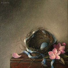 "JEANNE ILLENYE - Still Lifes: ""The Lost Ribbon"" Robin's Nest with blue egg, pink apple blossoms, blue satin ribbon, Jeanne Illenye Little Gems Still Life Oil Painting, Realism"