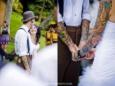 prettystardesigns:    gorgeous tattooed bride and groom!!