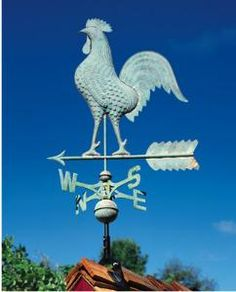 Rooster Weathervane, this one available at The Well Appointed House, I have a freestanding replica of this next to my grapevines, love it!