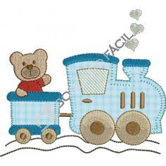 Trem com urso aplique Baby Embroidery, Hand Embroidery Patterns, Quilt Patterns, Machine Embroidery, Embroidery Designs, Applique Pillows, Hand Applique, Funny Baby Clothes, Cross Stitch Baby