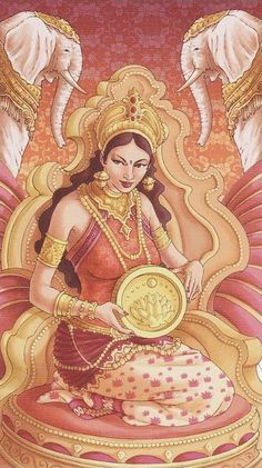 Lakshmi in Universal Goddess Tarot by Maria Caratti&Antonella Platano Indian Goddess, Goddess Art, Goddess Lakshmi, Namaste, Lakshmi Images, Art Painting Gallery, Sacred Feminine, Divine Feminine, Mother Goddess