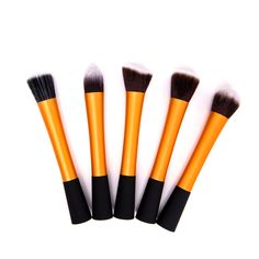 Synthetic Hair Cosmetic Foundation Blending Makeup Brushes Kit in Orange(5pc-set), 20% discount @ PatPat Mom Baby Shopping App