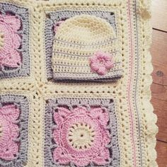 Willow square crochet baby blanket with matching hat in pink, grey and cream that I made for baby Rosie