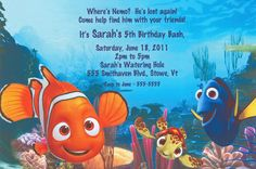 Finding Nemo and Pals Party Invitations are the perfect way to invite your child's guests to their Finding Nemo themed birthday party! This vibrant blue card features Nemo, Dorie and the rest of the under the sea gang. Finding Nemo Party Supplies, Online Party Supplies, Kids Party Supplies, Disney Invitations, Party Invitations, Invite, Halloween Costume Shop, Halloween Costumes For Kids, First Birthday Parties
