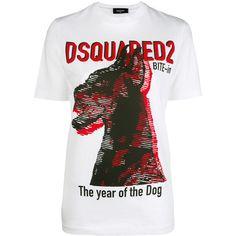 Dog Print T-shirt - Farfetch T Shirts, Printed Shirts, Tees, Cotton Tee, Printed Cotton, White Cotton, Dog Years, Bandana Print, White Tops