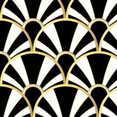 Art Deco Fan in Black, White and Gold wallpaper - suzzincolour - Spoonflower Arte Art Deco, Moda Art Deco, Estilo Art Deco, Art Deco Print, Art Deco Wall Art, Summer Deco, Art Deco Furniture, Colorful Furniture, White Furniture