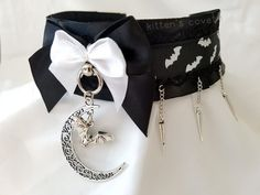 Black and White Spike Chain Lace Moon Bat Gothic Pleated Kitten/Pet Play DDLG BDSM Collar