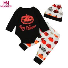 a45c7eb3534f4 Infant happy halloween -New Baby Boys Girls Halloween Pumpkin Romper  Jumpsuit+Pants Set - Jadeline Clothing Co.