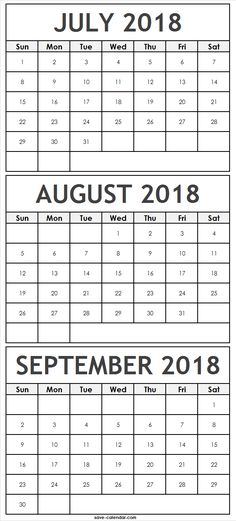 Six Month Calendar July to December 2018 2018 Calendar Pinterest