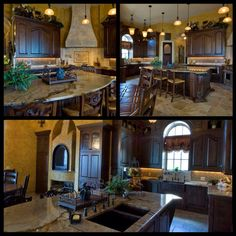 Rustic luxury; Tuscan kitchen - island idea - still bar height to accommodate kitchen entertaining. Small table for eat-in dining.