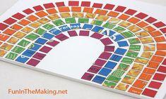 Mosaicos con cartón de cajas de cereales.  Rainbow mosaic made from thin cardboard.