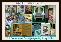 What to do with an Old Crib… 15 Great Ideas for Repurposing Baby Cribs! .. Keeping in mind for the future, but not just yet! :D