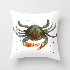 Crab art, coastal art, watercolor crab, crab pillow, beach house pillow Throw Pillow by eastwitching - $20.00