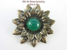Estate NE FROM Sterling Silver 925S Modernist Flower Pin w/ Green Chrysoprase  #NielsErikFrom