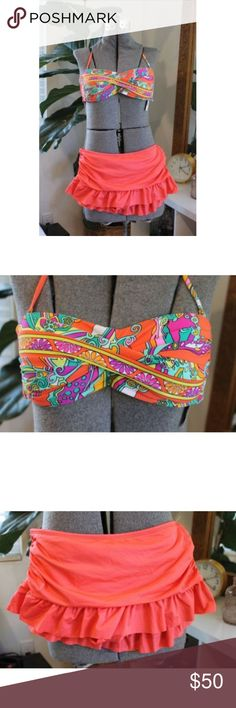 Trina Turk Multicolor Bikini Size 4 NEW Skirted NEW Trina Turk bikini.  It's in size 4.  It's got skirted bottoms and a bandeau top.  The top has removable straps.  The top alone retails for $76.   The tags for the top are attached but not for the bottom.  Both are NEW. Trina Turk Swim Bikinis
