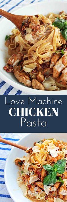 Love Machine Chicken Pasta made with tomato cream sauce, sauteed chicken, sundried tomatoes, and parmesan cheese. www.modernhoney.com