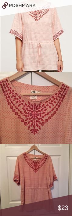Anthropologie peasant top Soft Anthropologie One September pink peasant top. Never worn, got it as a gift and it isn't my size. Anthropologie Tops Blouses