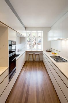 Galley Kitchen Remodel Ideas (Small Galley Kitchen Design, Makeovers, and Plans) - Kitchen Ideas Ikea Galley Kitchen, White Galley Kitchens, Galley Kitchen Design, Galley Kitchen Remodel, Interior Design Kitchen, Kitchen Designs, Kitchen Ideas, Kitchen Small, Kitchen Decor