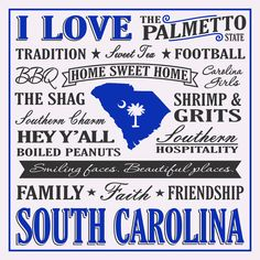 Show your love for South Carolina with this Palmetto State sign. This sign features just a few things that makes South Carolina such a special place to live, work, and play! Proudly Made in the USA. W