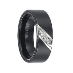 Triton Rings - ROLF Flat Black Satin Finished Tungsten Carbide Wedding Band with Diagonal Diamonds Set in Stainless Steel - 8 mm